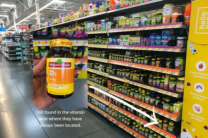 vitamin aisle at Walmart