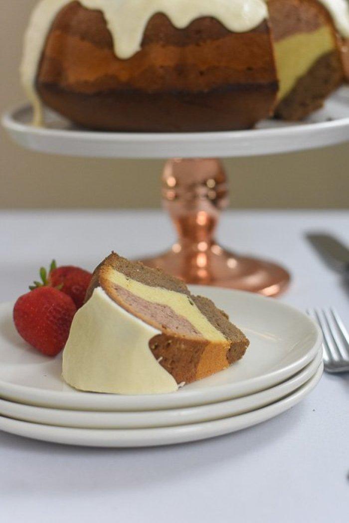 slice of Neapolitan pound cake