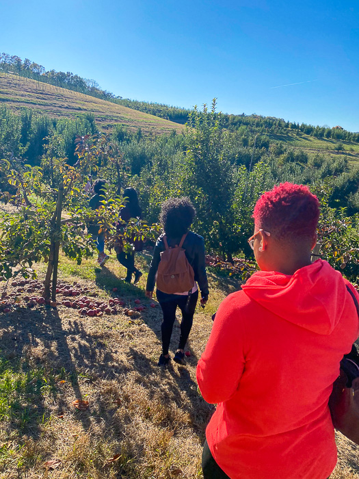women walking at Mercier Orchards