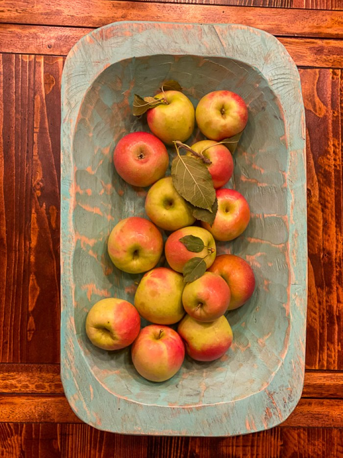 fresh-picked apples in dish on table