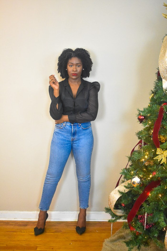 Dash of Jazz in organza blouse, mom jeans, and green bow pumps