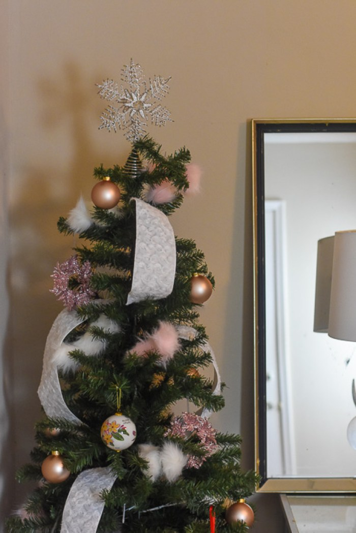 pencil Christmas tree decorated in pink and white