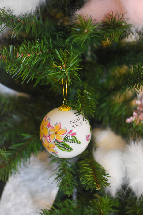 Hawaii souvenir ornament on Christmas tree