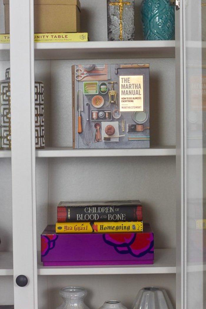 books styled on IKEA Hemnes cabinet shelves