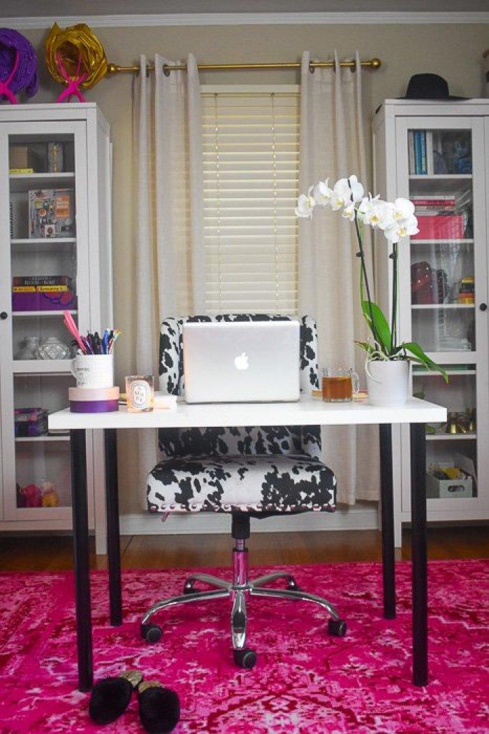 girl boss home office desk setup