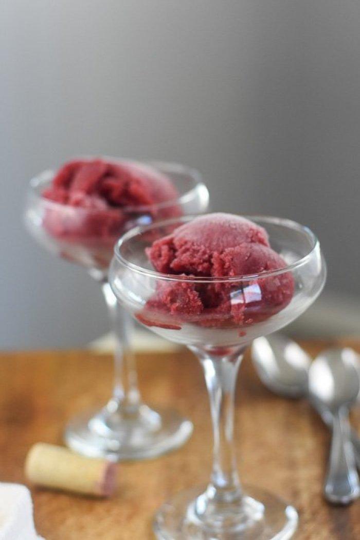 red wine sorbet in cocktail glasses