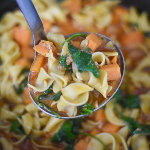Sweet Potato Chorizo Noodle Soup