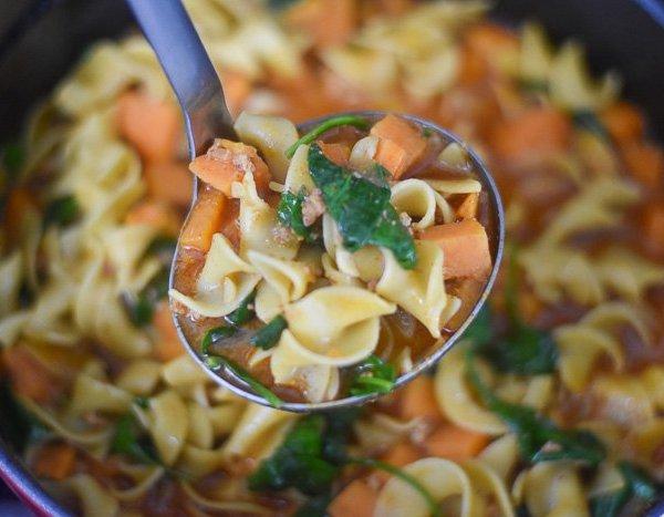 Sweet Potato Chorizo Noodle Soup