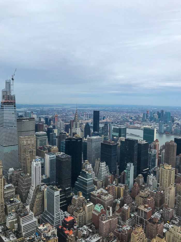 view of NYC skyline from Empire State Building 86th floor observation deck