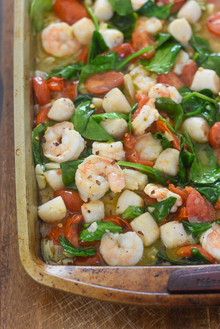 sheet pan of broiled shrimp & scallops