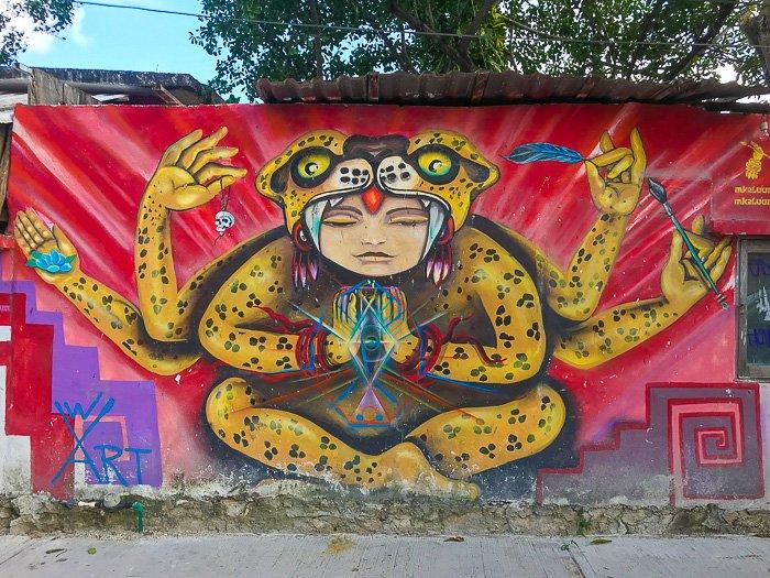 street mural in Tulum Pueblo