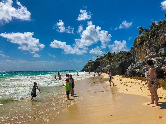 families at Tulum Mayan Ruins Hidden Beach