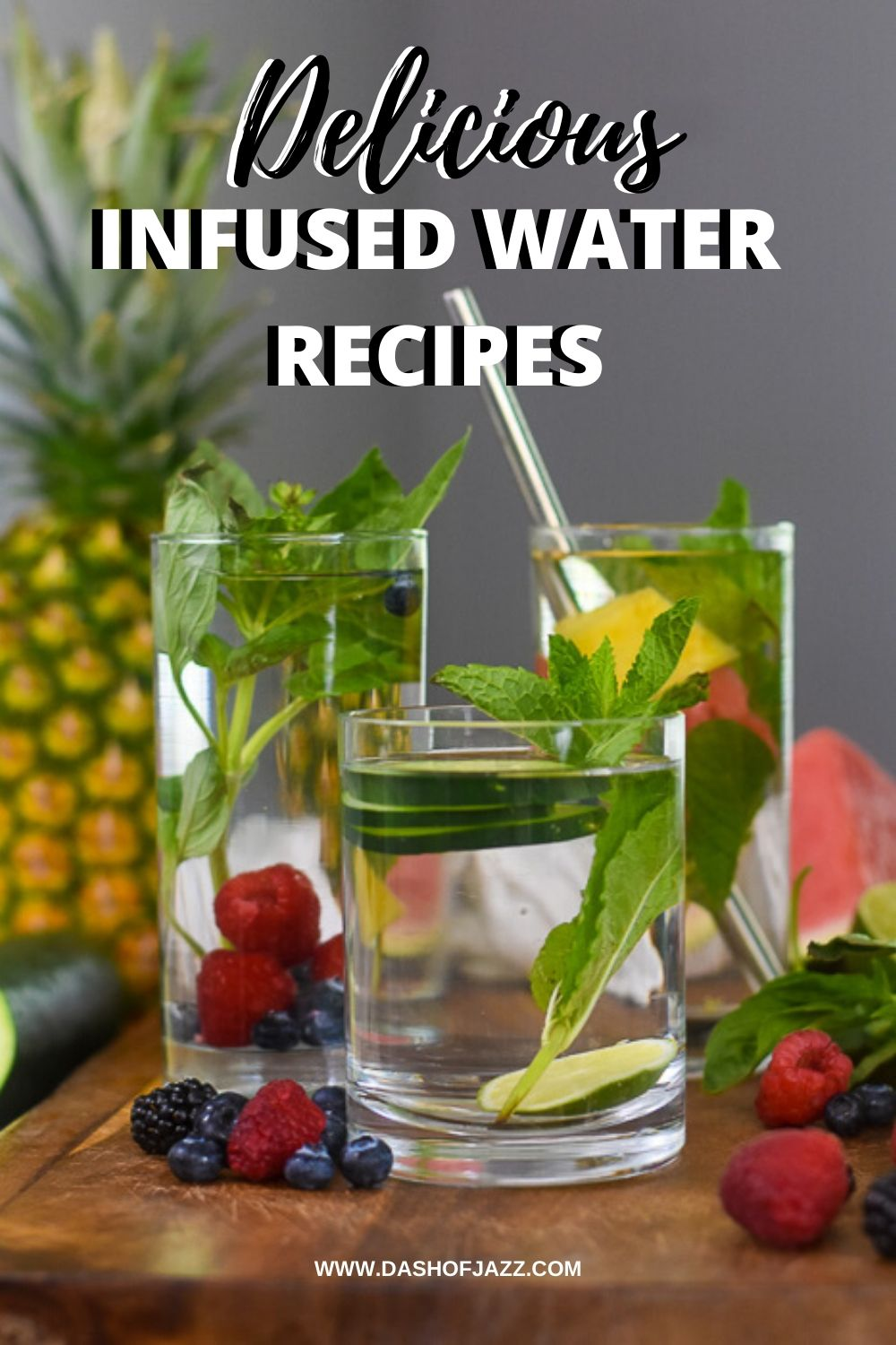 Pinterest image of three glasses of infused water