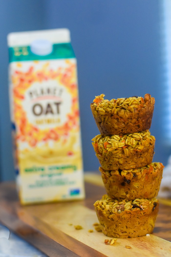 stack of oatmeal muffins on cutting board