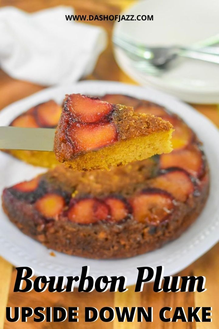serving slice of bourbon plum upside down cake with text overlay