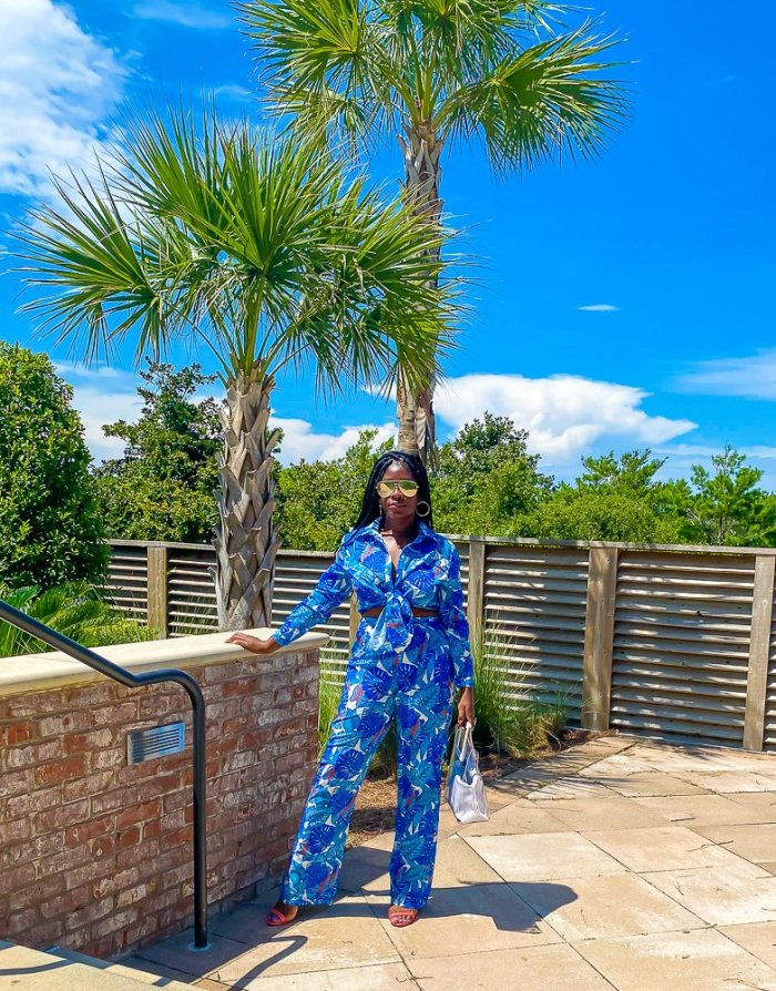 Jazzmine wearing blue pants set at Henderson Resort