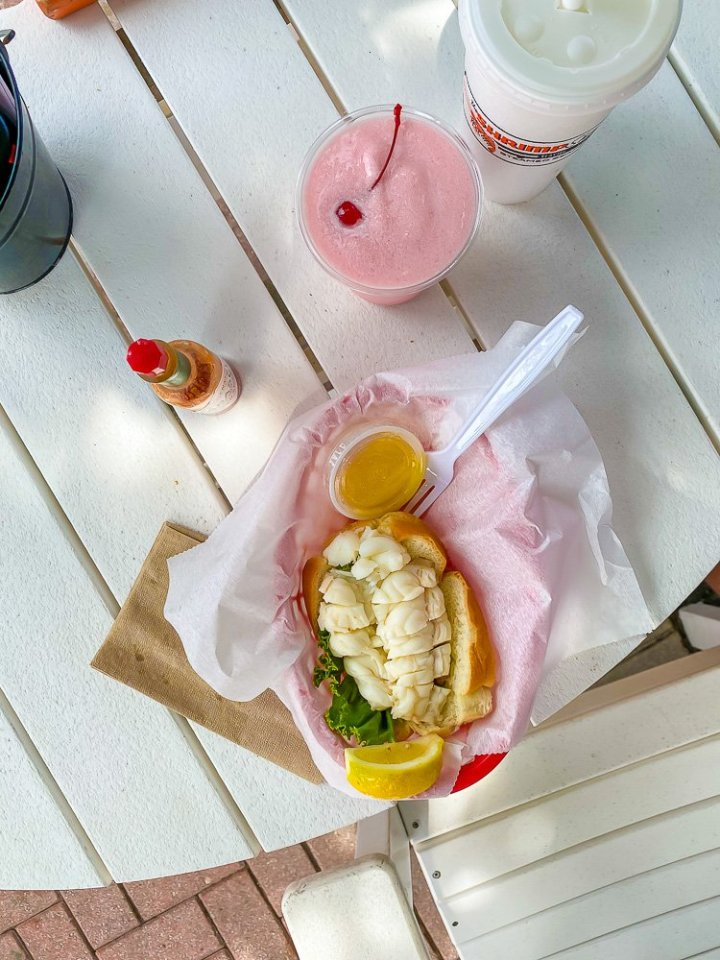 lobster roll and frozen cocktail from Shrimp Shack