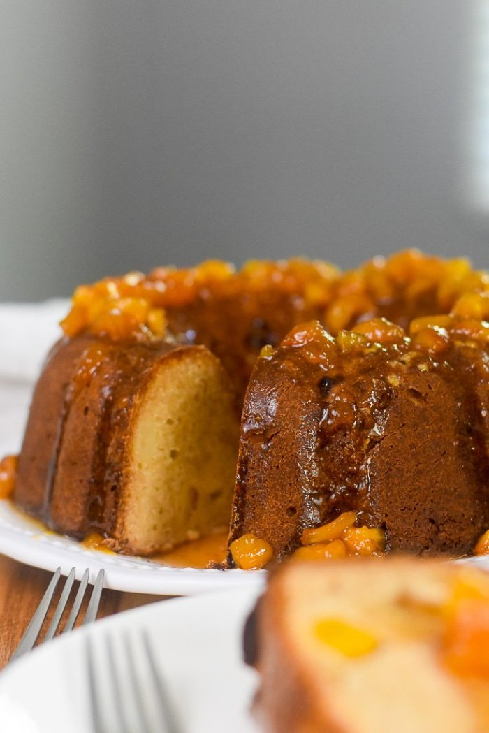 pound cake topped with honey peach glaze
