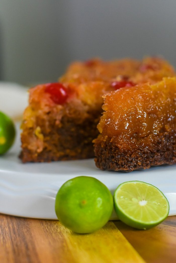 slices of key lime pineapple upside down cake