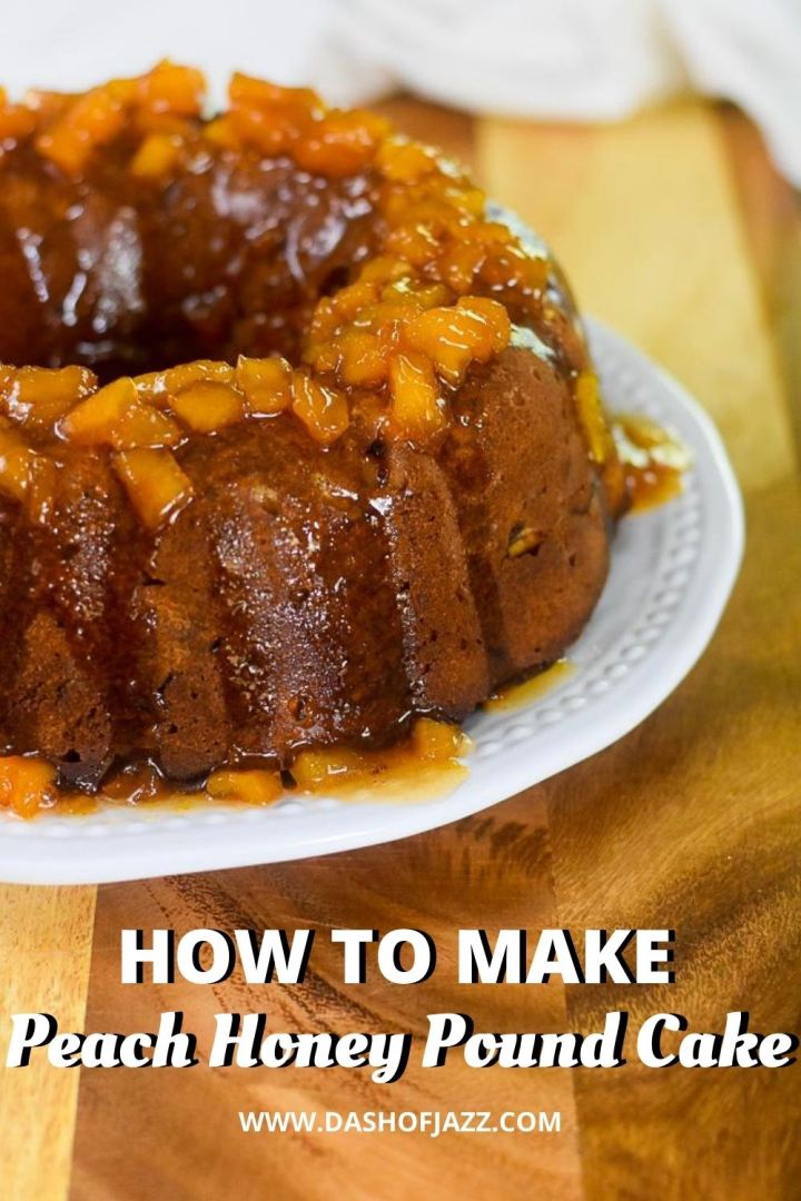peach honey pound cake with diced peaches and glaze on top