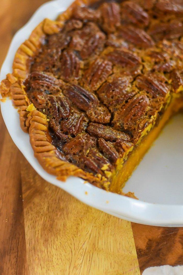 bourbon sweet potato pecan pie with slice removed