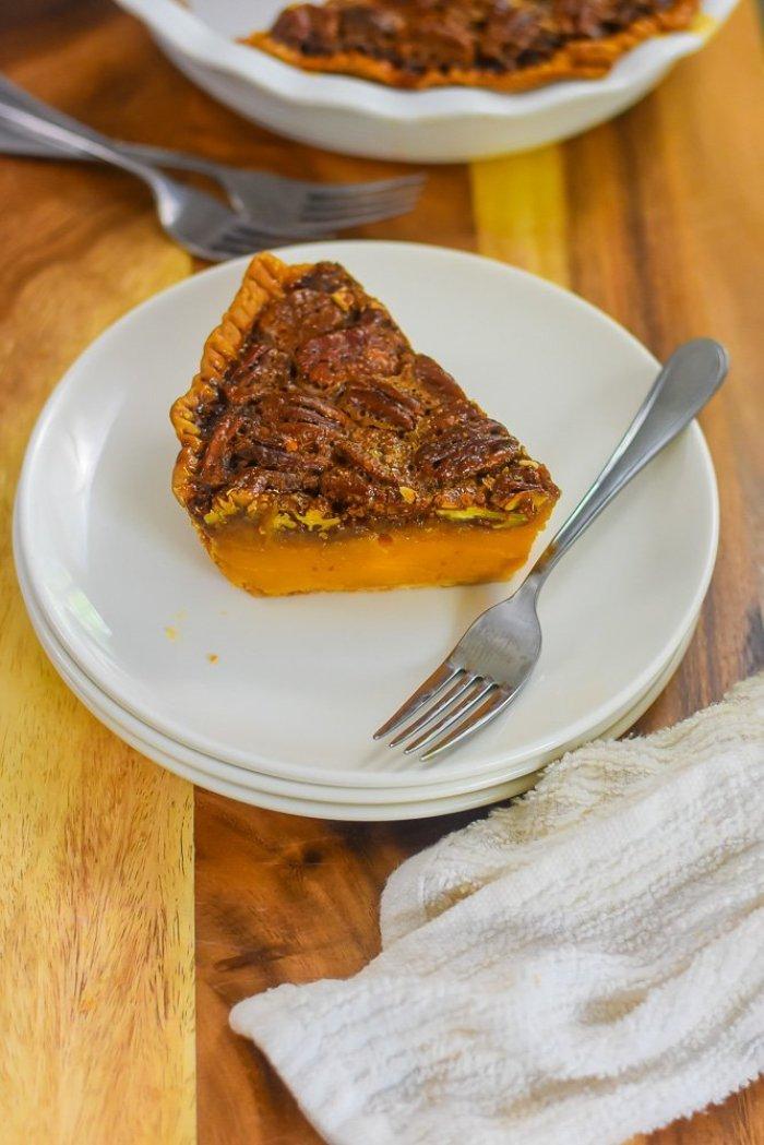 slice of sweet potato pecan pie