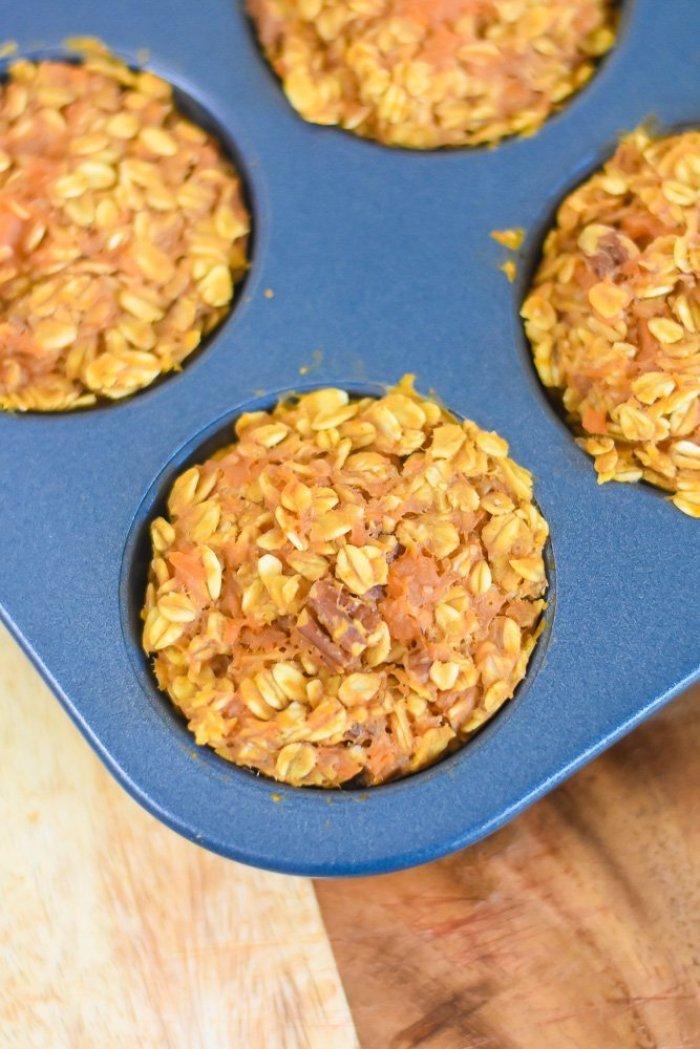 sweet potato oatmeal muffin in pan