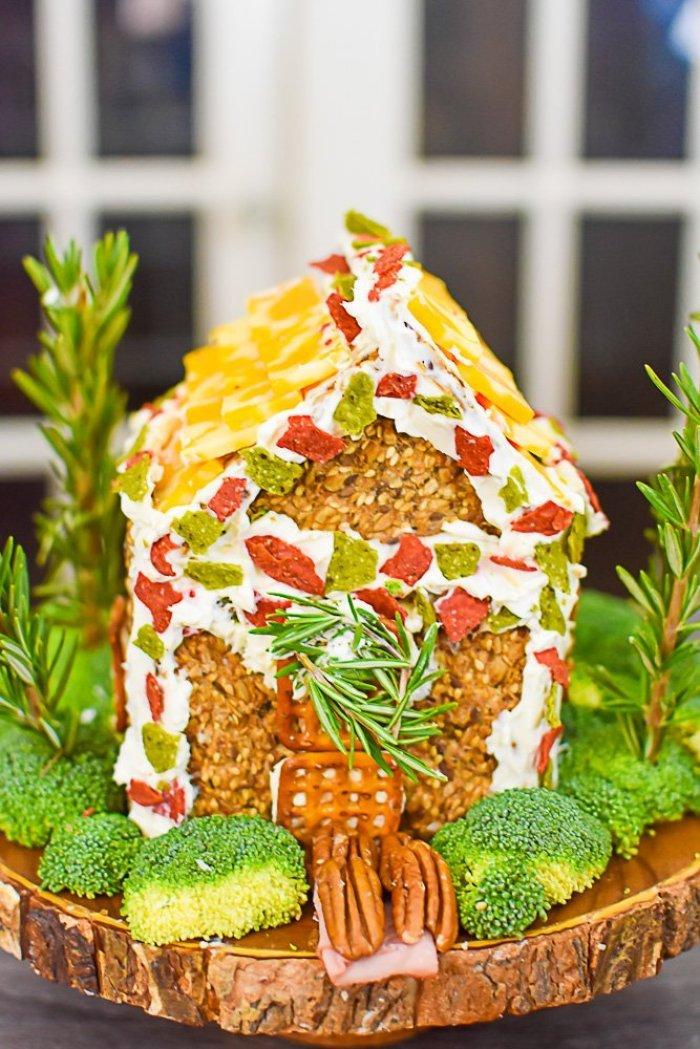 finished charcuterie chalet aka savory gingerbread house
