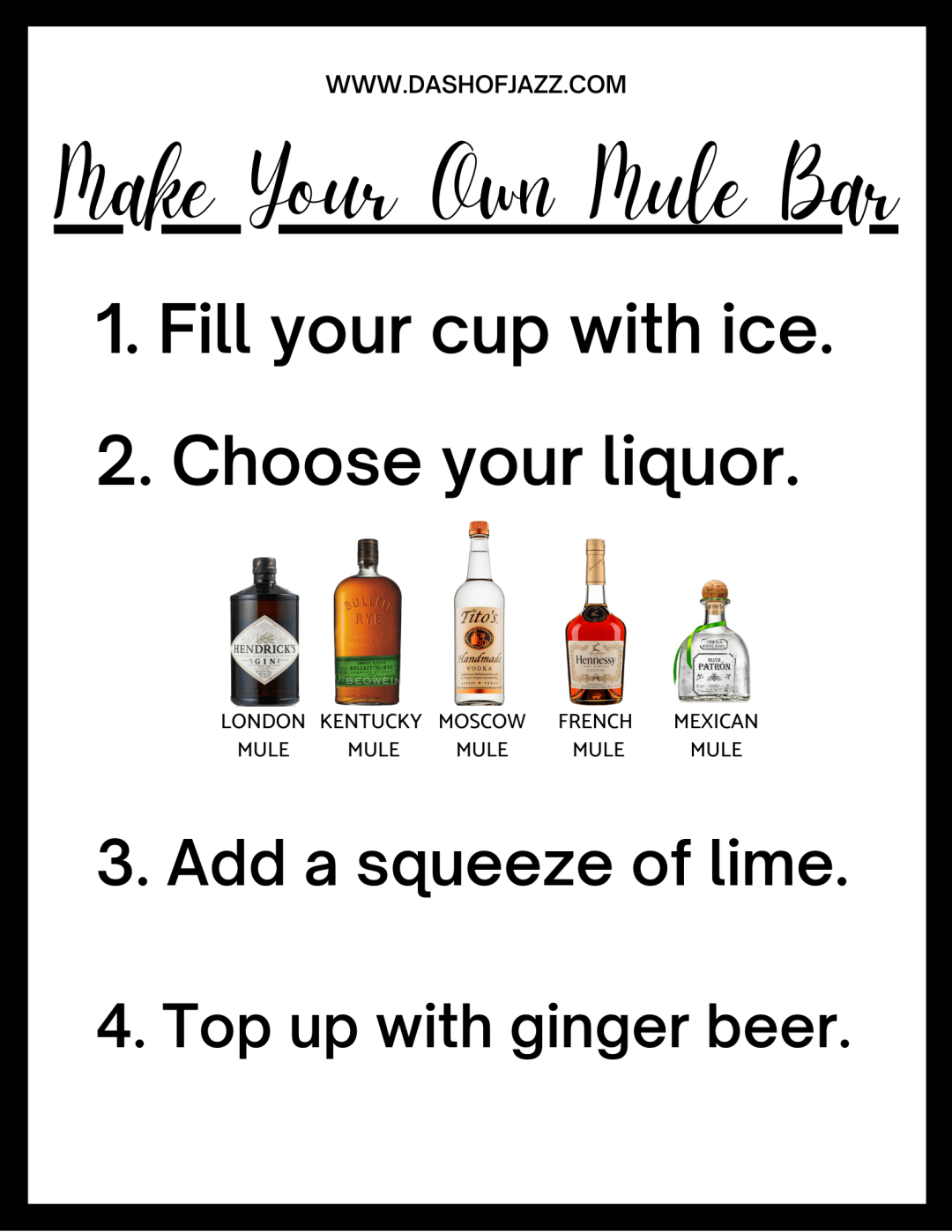 printable sign outlining how to make different kinds of mule cocktails