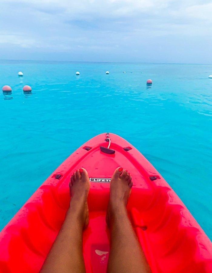 Kayaking in Caribbean Sea.