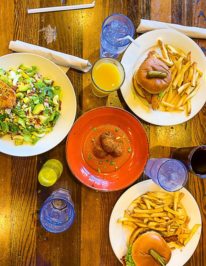table of dishes and drinks from Busboys and Poets in Brookland Washington, DC.