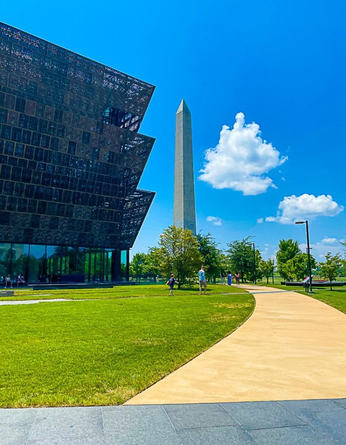 Washington Monument seen from behind the National Museum of African American Culture and History in DC.