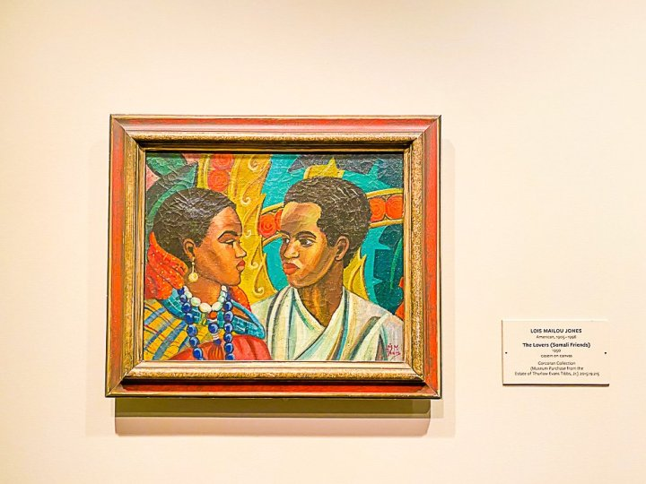 """framed panting """"The Lovers"""" by Lois Mailou Jones at the National Gallery of Art DC."""