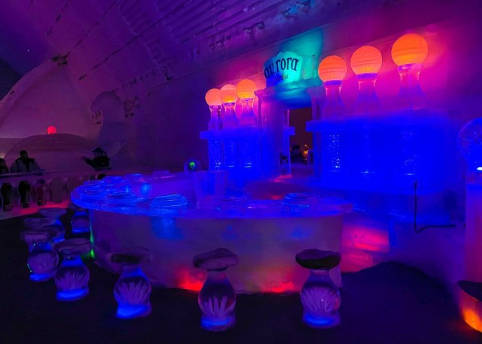 full bar made of sculpted ice at Aurora Ice Museum in Alaska.