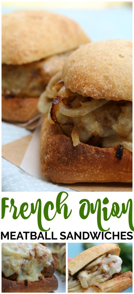 French Onion Meatball Sandwiches pinterest image