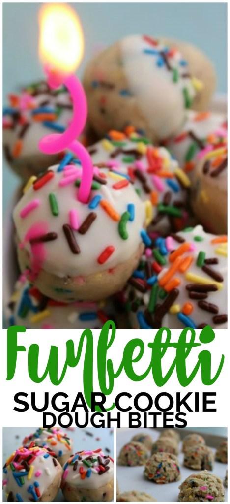Funfetti Sugar Cookie Dough Bites pinterest image