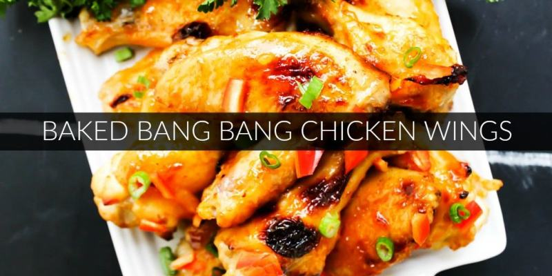 Baked Bang Bang Chicken Wings are sweet & spicy chicken wings baked in garlic chili sauce, which makes a traditional football game day appetizer healthier.