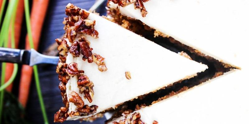 TwitterCarrot Cake with Maple Brown Sugar Buttercream & Candied Pecans with coconut, maple syrup, brown sugar, and pecans make a combo that will have you swooning.