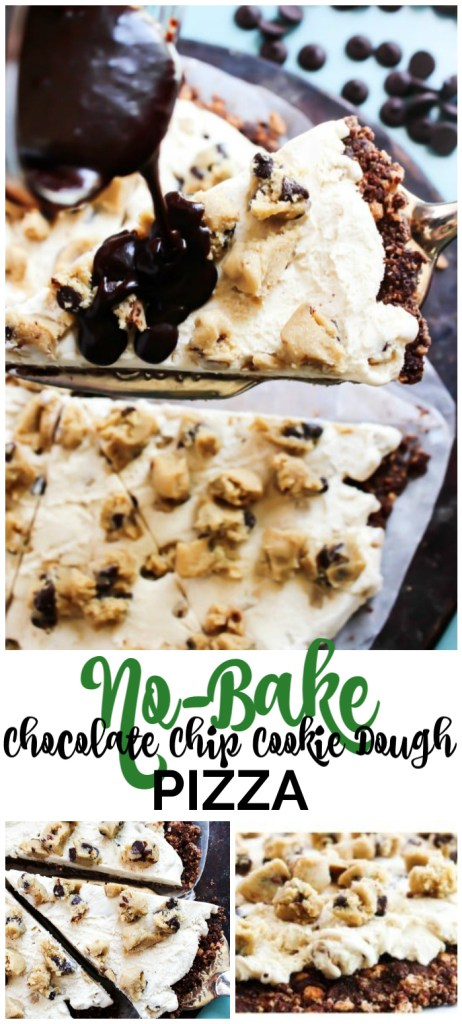 No Bake Chocolate Chip Cookie Dough Ice Cream Pizza pinterest image