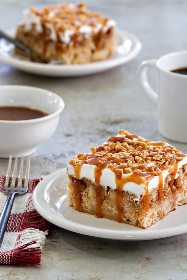 Caramel Apple Poke Cake