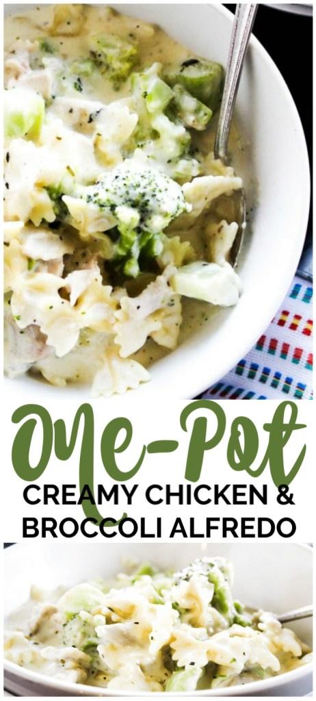 One-Pot Creamy Chicken and Broccoli Alfredo pinterest image