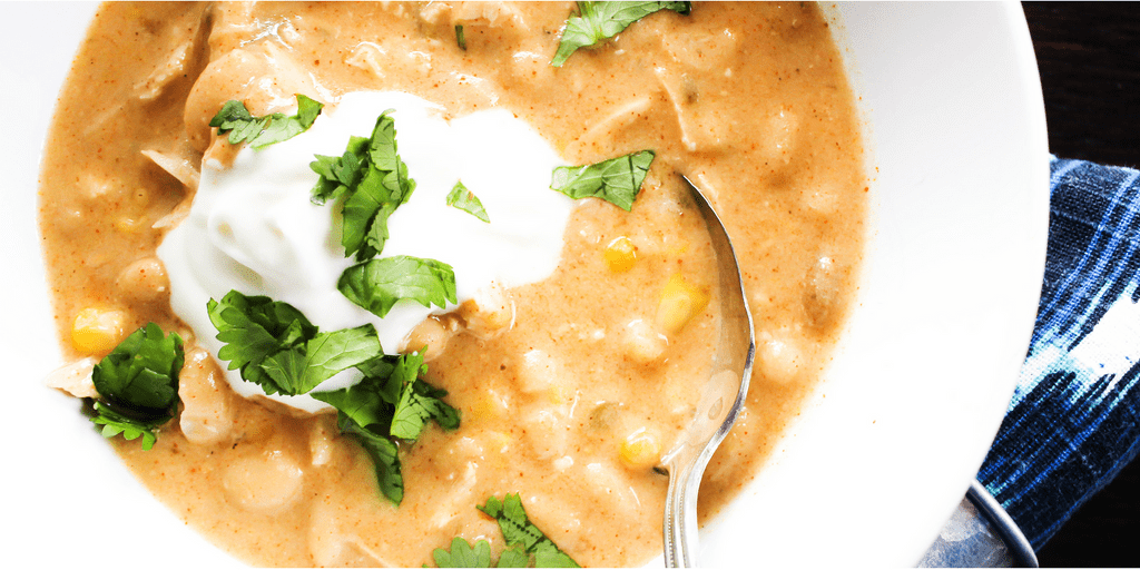 This Slow Cooker White Chicken Chili is creamy, cheesy and delicious.