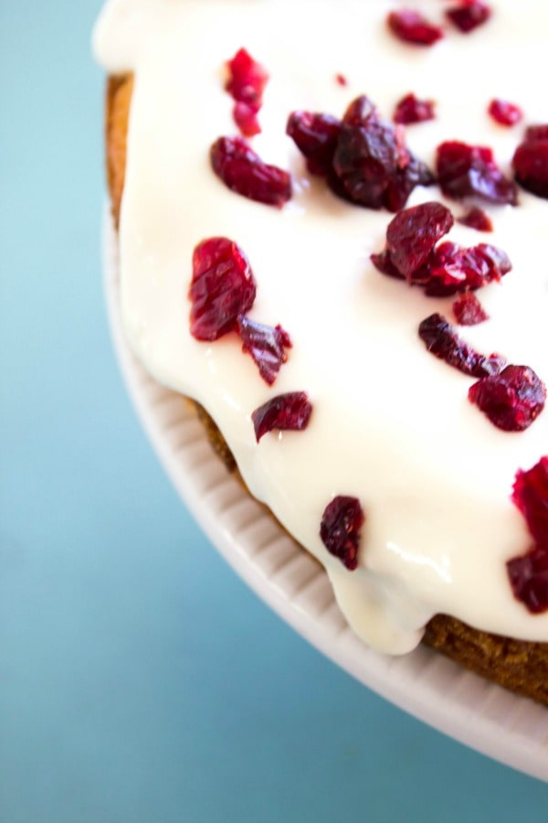 Cranberry Orange Cornmeal Pound Cake is a perfect holiday dessert. It's a twist on your average pound cake, made with cornmeal, buttermilk and orange zest. cranberry-orange-cornmeal-pound-cake-cake