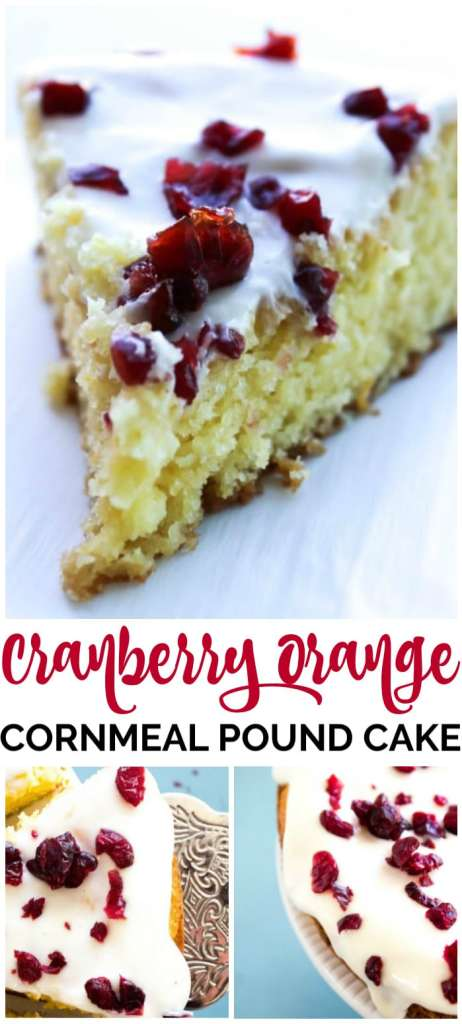 Cranberry Orange Cornmeal Pound Cake is a perfect holiday dessert. It's a twist on your average pound cake, made with cornmeal, buttermilk and orange zest.