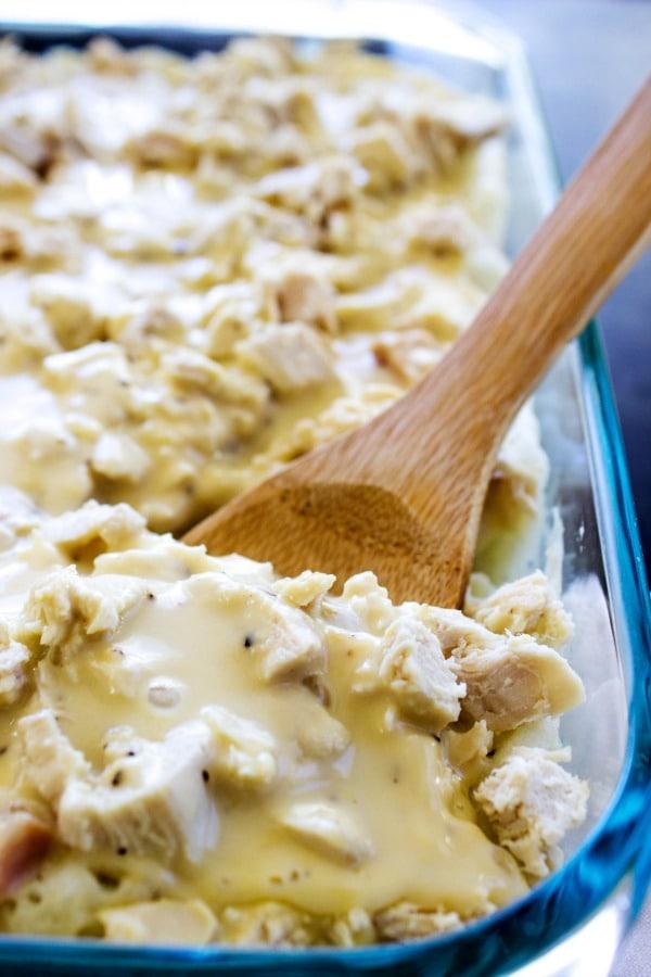 Little Hen Casserole aka Chicken & Gravy Casserole - a creamy casserole of chicken gravy,shredded chicken and mashed potatoes.