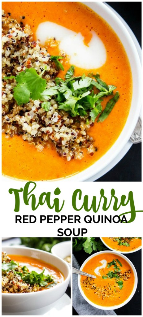 Thai Curry Red Pepper Quinoa Soup pinterest image