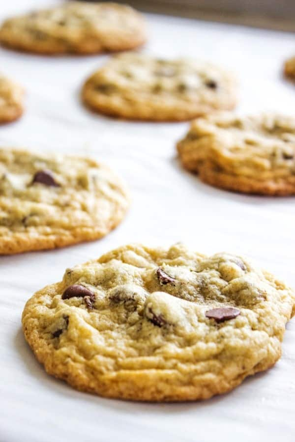 CAFÉ GLUTEN FREE CHOCOLATE CHIP COOKIES - Cookies on parchment paper on baking sheet