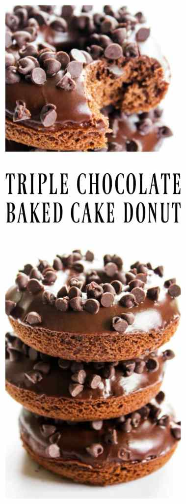 TRIPLE CHOCOLATE BAKED CAKE DONUTS RECIPE