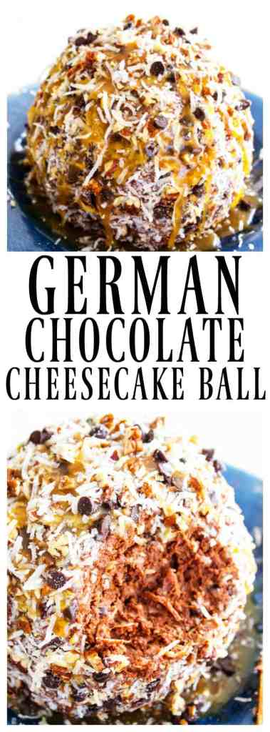 Insanely delicious and easy, this GERMAN CHOCOLATE CHEESECAKE BALL is a simple, no-bake recipe that makes the perfect holiday party center