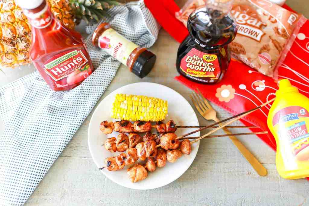 Maple Barbecue Chicken Kabobs with ingredients.